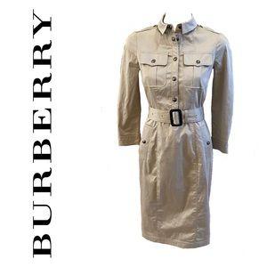 BURBERRY beige shirt dress with belt